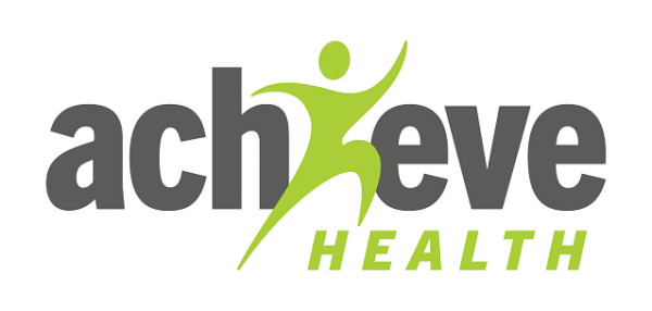 Grey and green logo for achieve health